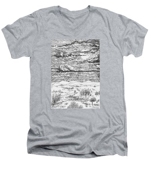 Looming Snowstorm Men's V-Neck T-Shirt by Charles Cater