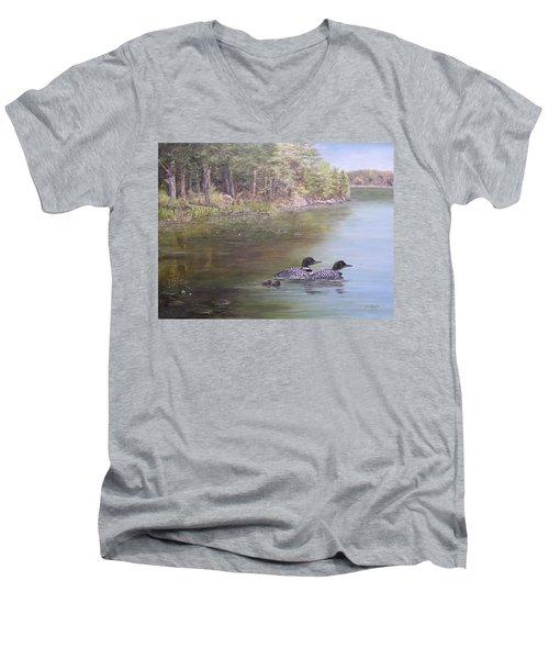 Loon Family 1 Men's V-Neck T-Shirt