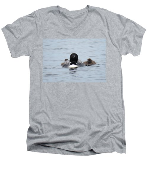 Men's V-Neck T-Shirt featuring the photograph Loon With Chicks by Sandra LaFaut