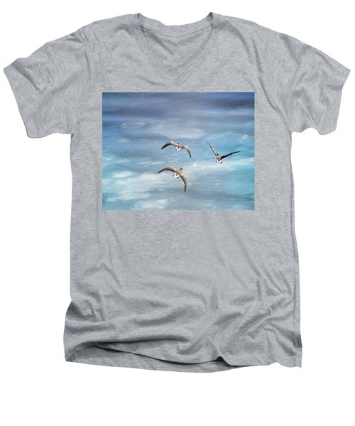 Loons Over Ice - Three Men's V-Neck T-Shirt by Vicki Jauron