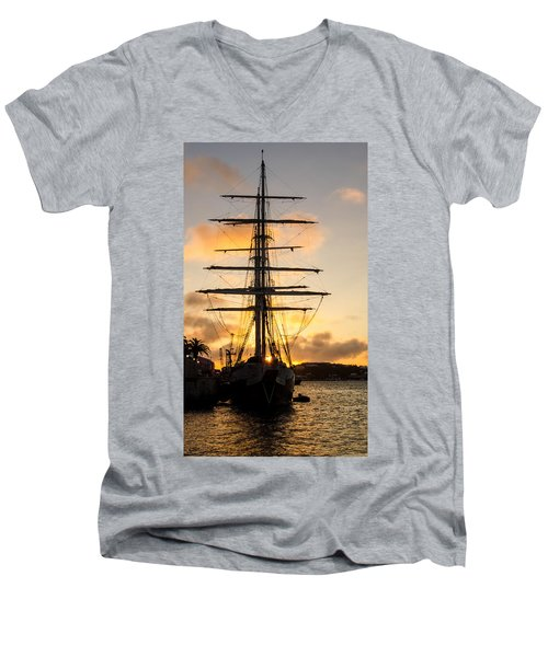 Lord Nelson Sunrise Men's V-Neck T-Shirt by Jeff at JSJ Photography