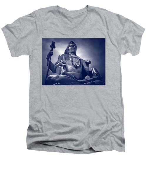 Men's V-Neck T-Shirt featuring the digital art Lord Shiva by Bliss Of Art