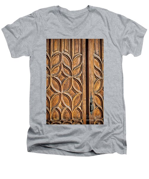 Men's V-Neck T-Shirt featuring the photograph Loretto Doorway by Gina Savage