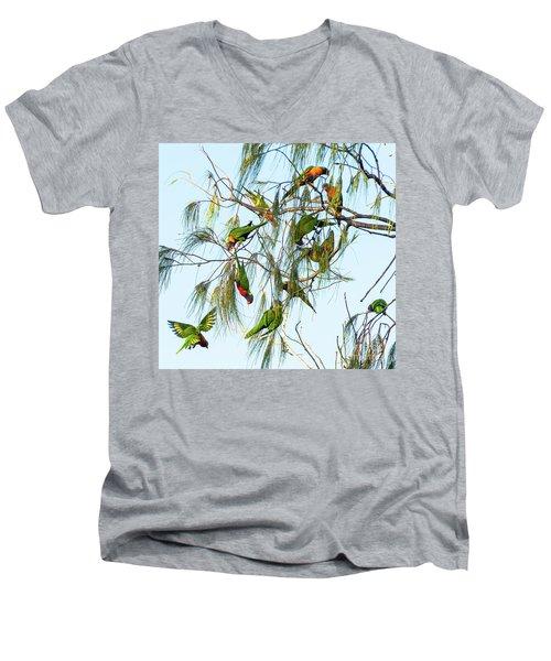 Lorikeets Swarming From Tree To Tree Men's V-Neck T-Shirt
