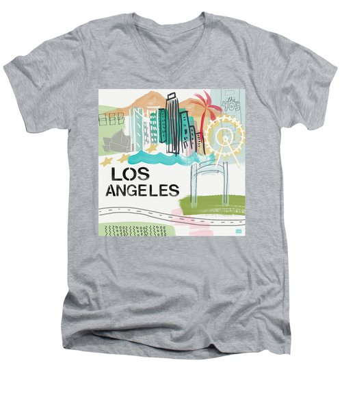 Los Angeles Cityscape- Art By Linda Woods Men's V-Neck T-Shirt
