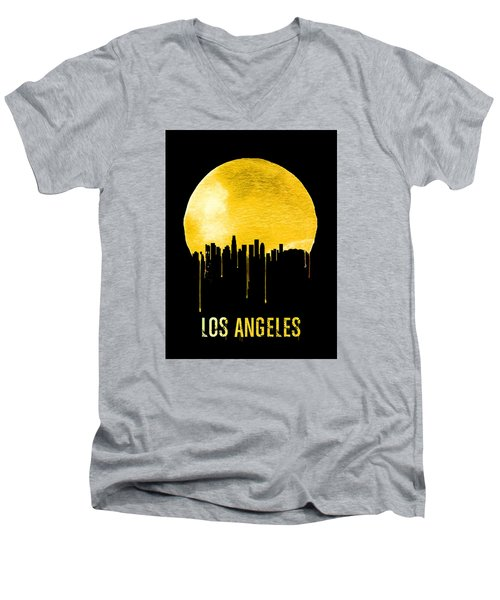 Los Angeles Skyline Yellow Men's V-Neck T-Shirt