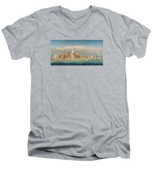 Los Angeles Sunset Men's V-Neck T-Shirt by Douglas Castleman