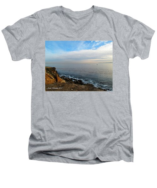 Men's V-Neck T-Shirt featuring the photograph Los Angeles Sunset by Joan  Minchak
