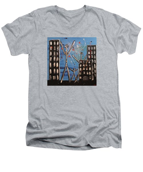 Men's V-Neck T-Shirt featuring the painting Lost Cities 13-003 by Mario Perron