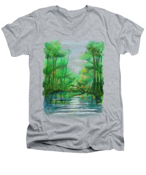 Men's V-Neck T-Shirt featuring the painting Lost In Colors  by Ivana Westin