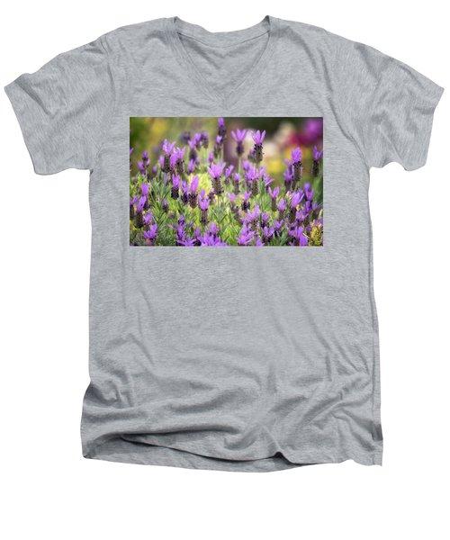 Men's V-Neck T-Shirt featuring the photograph Lots Of Lavender  by Saija Lehtonen
