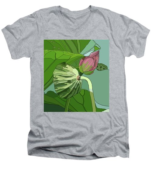 Lotus And Bud Men's V-Neck T-Shirt