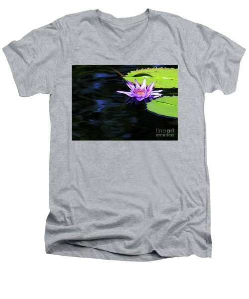 Lotus And Dark Water Refection Men's V-Neck T-Shirt