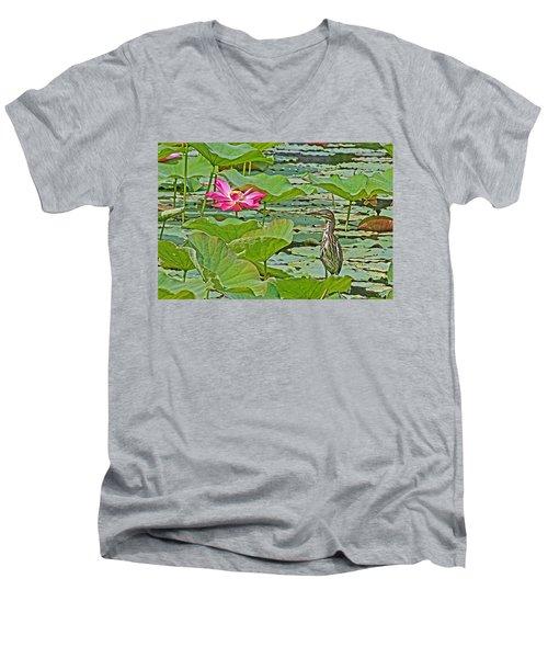 Lotus Blossom And Heron Men's V-Neck T-Shirt