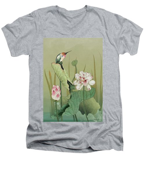 Lotus Flower And Hummingbird Men's V-Neck T-Shirt