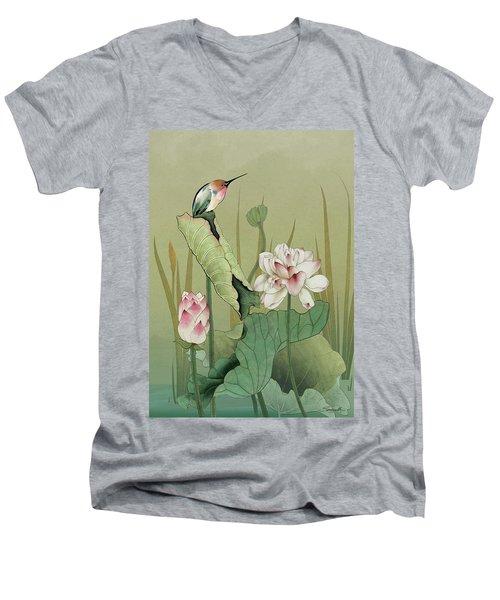 Lotus Flower And Hummingbird Men's V-Neck T-Shirt