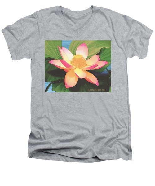 Men's V-Neck T-Shirt featuring the painting Lotus Flower by Sophia Schmierer