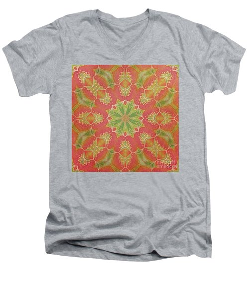 Men's V-Neck T-Shirt featuring the drawing Lotus Garden by Mo T
