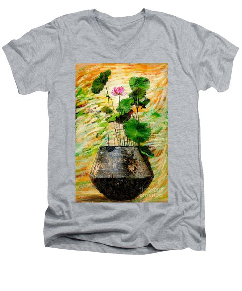 Lotus Tree In Big Jar Men's V-Neck T-Shirt