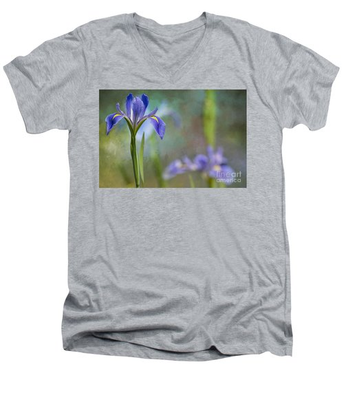 Men's V-Neck T-Shirt featuring the photograph Louisiana Iris by Bonnie Barry