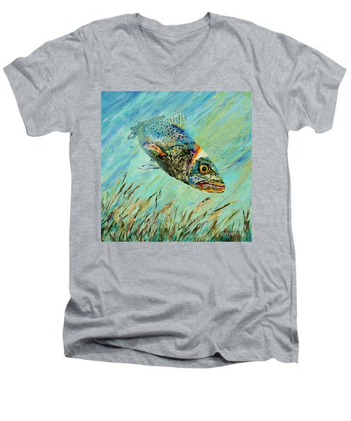 Men's V-Neck T-Shirt featuring the painting Louisiana Speckled by Dianne Parks