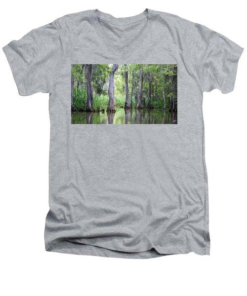 Louisiana Swamp 5 Men's V-Neck T-Shirt by Inspirational Photo Creations Audrey Woods