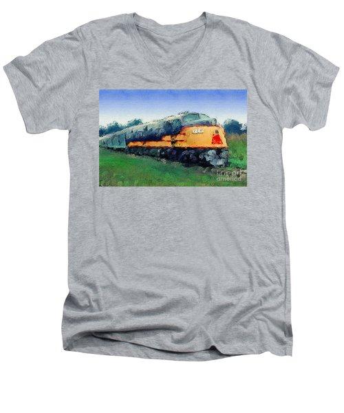 Louisville And Nashville E6a Diesel Locomotive Men's V-Neck T-Shirt by Wernher Krutein