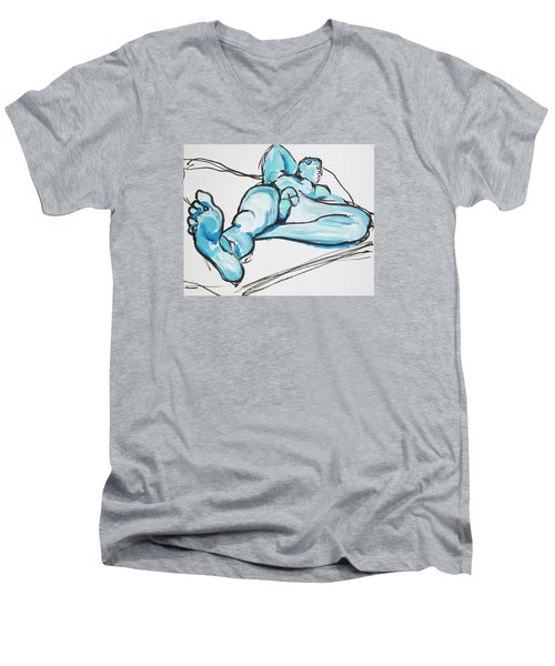 Lounging In Blue Men's V-Neck T-Shirt