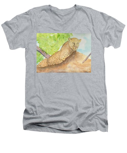Men's V-Neck T-Shirt featuring the painting Lounging Leopard by Vicki  Housel