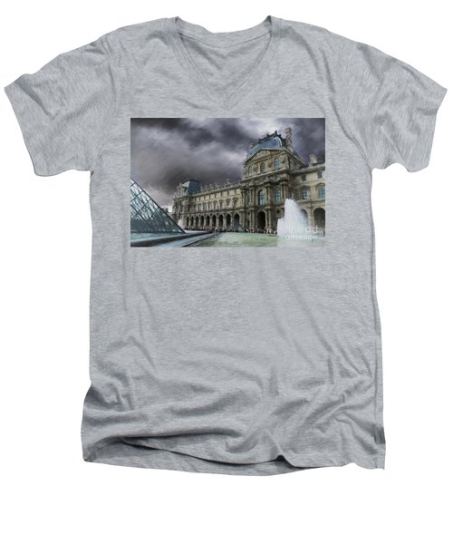 Men's V-Neck T-Shirt featuring the mixed media Louvre by Jim  Hatch