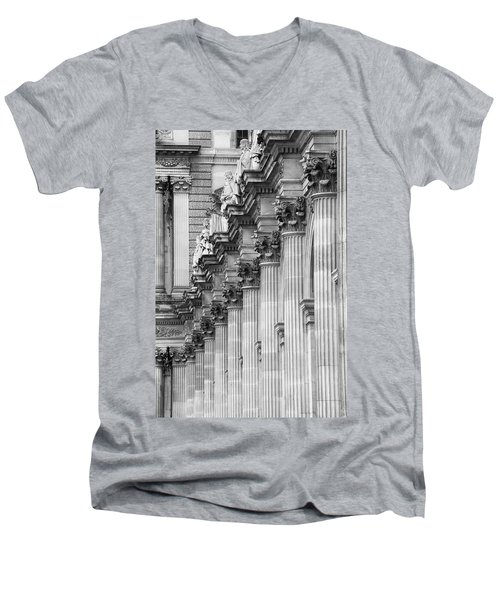 Men's V-Neck T-Shirt featuring the photograph Louvre Pillars, Paris, 2015 by Hitendra SINKAR