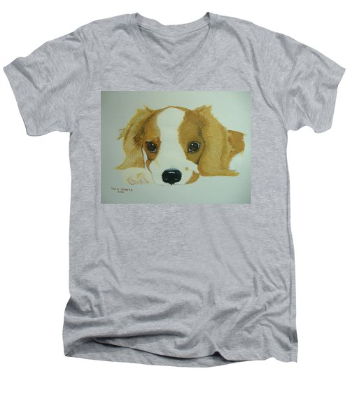 Men's V-Neck T-Shirt featuring the painting Lovable Puppy by Norm Starks