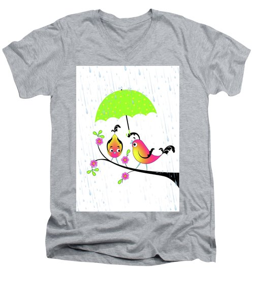 Love Birds In Rain Men's V-Neck T-Shirt