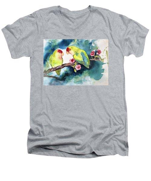 Love Birds On Branch Men's V-Neck T-Shirt