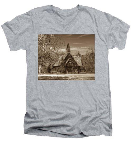 Love Chapel In Sepia Men's V-Neck T-Shirt