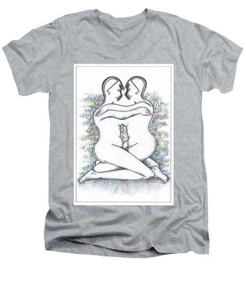 Friendly Hug On Colour Men's V-Neck T-Shirt