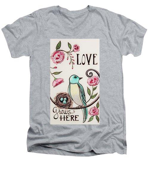 Love Grows Here Men's V-Neck T-Shirt by Elizabeth Robinette Tyndall