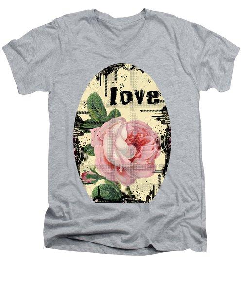 Love Grunge Rose Men's V-Neck T-Shirt by Robert G Kernodle