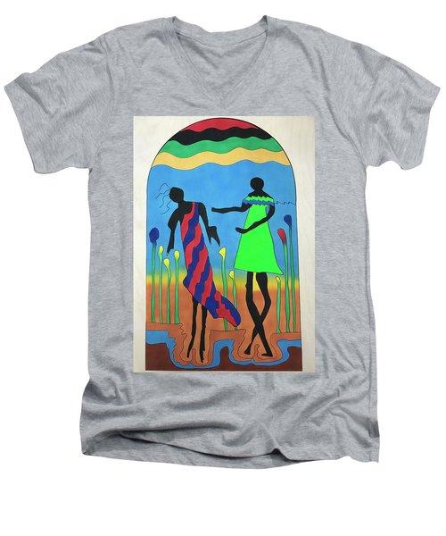 Love In The Reeds Men's V-Neck T-Shirt