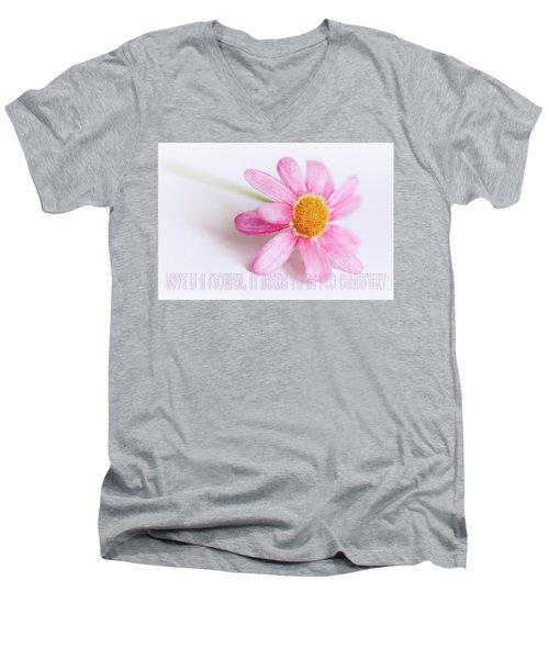 Love Is A Flower Men's V-Neck T-Shirt