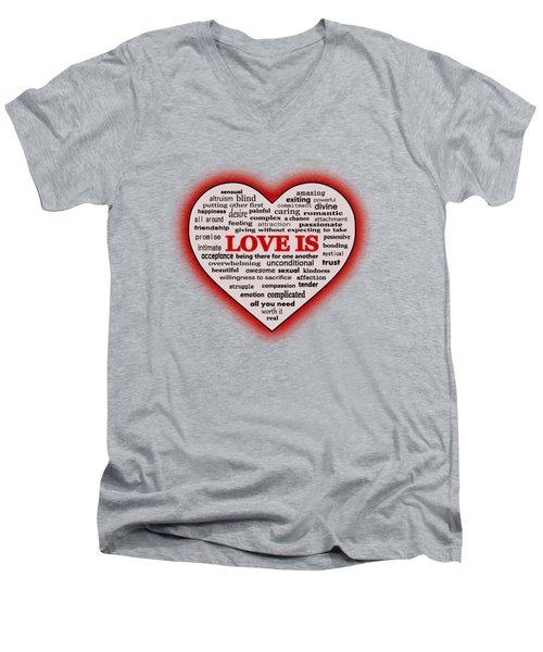 Men's V-Neck T-Shirt featuring the digital art Love Is by Anastasiya Malakhova