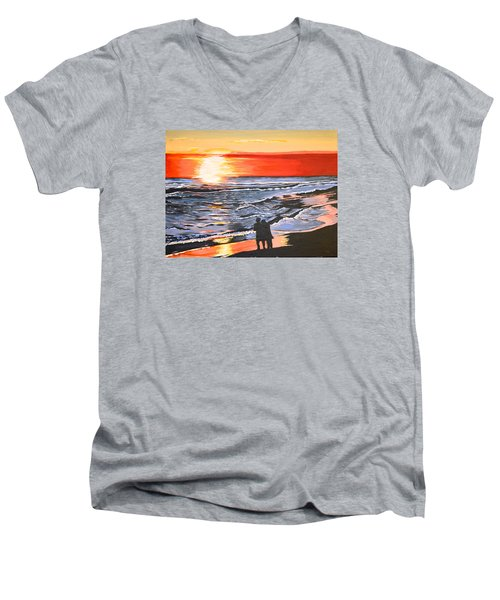 Love Is In The Air Men's V-Neck T-Shirt by Donna Blossom