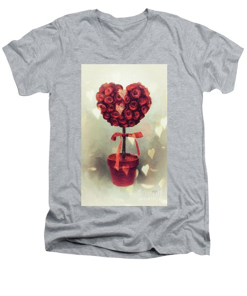 Men's V-Neck T-Shirt featuring the digital art Love Is In The Air by Lois Bryan