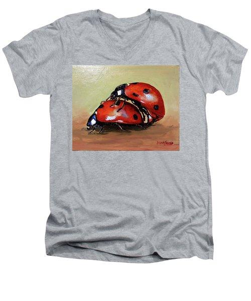 Love Men's V-Neck T-Shirt by Janet Garcia