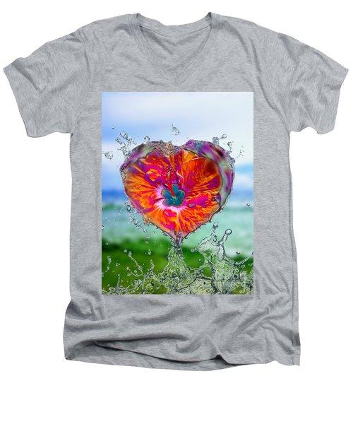 Love Makes A Splash Men's V-Neck T-Shirt