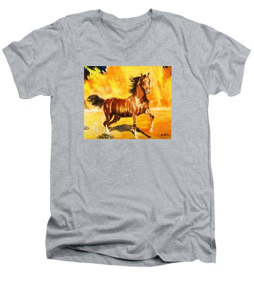 Lone Mustang Men's V-Neck T-Shirt