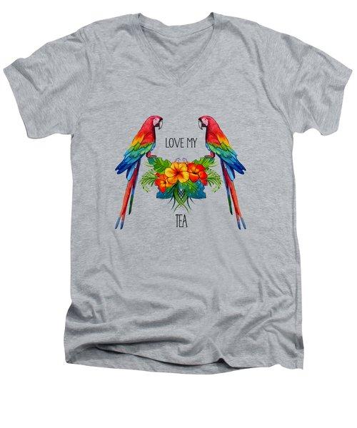 Love My Tea Men's V-Neck T-Shirt by Ericamaxine Price