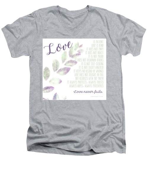 Love Never Fails Men's V-Neck T-Shirt