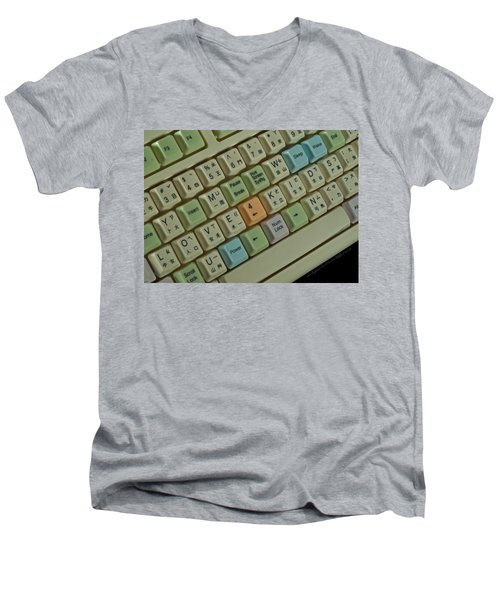 Love Puzzle Keyboard Men's V-Neck T-Shirt