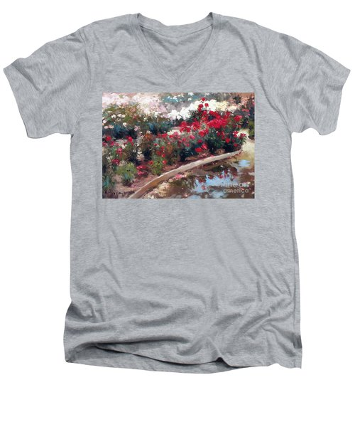 Men's V-Neck T-Shirt featuring the painting Love by Rosario Piazza